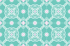 Traditional ornate portuguese and brazilian tiles azulejos in turquoise and pink. Vector illustration. Royalty Free Stock Photography