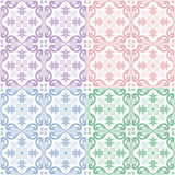 Traditional ornate portuguese and brazilian tiles azulejos. Vector illustration. 4   color variations. Traditional ornate portuguese and brazilian tiles azulejos Royalty Free Stock Photo