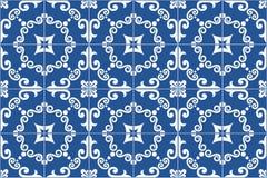 Traditional ornate portuguese and brazilian tiles azulejos. Vector illustration. Stock Photo