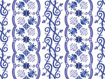 Traditional ornate portuguese and brazilian tiles azulejos. Vector illustration. Royalty Free Stock Images