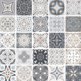 Traditional ornate portuguese decorative tiles azulejos. Abstract background. Vector hand drawn illustration, typical. Portuguese tiles, Ceramic tiles. Set of Stock Image