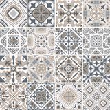 Traditional ornate portuguese decorative tiles azulejos. Abstract background. Vector hand drawn illustration, typical Stock Images