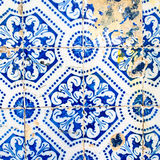 Traditional ornate portuguese decorative tiles azulejos. Vintage. Traditional ornate portuguese decorative tiles azulejos. Indigo Blue Tiles Floor Ornament Stock Photography