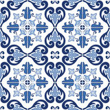 Traditional ornate portuguese tiles azulejos seamless pattern. Vector illustration. Royalty Free Stock Photography