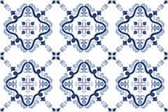 Traditional ornate portuguese tiles azulejos. Vector illustration. Royalty Free Stock Photos