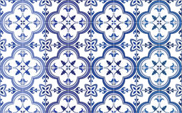Traditional ornate portuguese tiles azulejos. Vector illustration. 4 color variations in blue. Stock Photos
