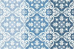 Traditional ornate portuguese tiles azulejos. Vector illustration. 4 color variations in blue. Traditional ornate portuguese tiles azulejos, 3 tone variations Stock Photo