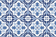 Traditional ornate Portuguese tiles azulejos. Vector illustration. Stock Photo