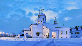 Traditional Orthodox Christian temple in winter. Traditional Russian Orthodox church in winter Stock Image
