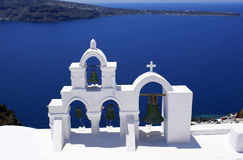 Traditional orthodox church at Santorini Stock Photography