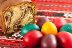Traditional orthodox sponge cake and colored easter eggs. Orthodox easter tradition Royalty Free Stock Images