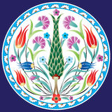 Traditional Ottoman Flower Design. Traditional round Ottoman floral design vector illustration