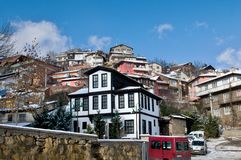 Traditional Ottoman House - Turkey. Traditional Ottoman House in Kastamonu in the first snow under castle Stock Photos