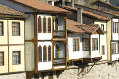 Traditional Ottoman Houses in Amasya, Turkey. Amasya, Turkey - February 08, 2014: Riverside houses at Amasya, Turkey. Amasya is a city in northern Turkey Royalty Free Stock Image
