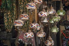 Traditional Ottoman style mosaic lamps for sale as souvenirs in a local bazaar stock image