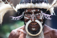 Traditional outfit in Papua Indonesia. Portrait showing the traditional outfit and make up in Papua Indonesia. Baliem Valley royalty free stock photography