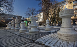 Traditional Oversized Street Chess figures 02 Royalty Free Stock Images