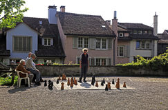 Traditional oversized street chess, Zurich, Switzerland. Stock Images