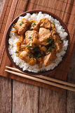 Traditional oyakodon and rice in a bowl. vertical top view Stock Image