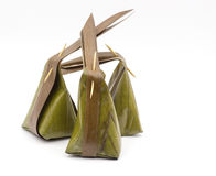Traditional packaging thai style with banana leaf Stock Images