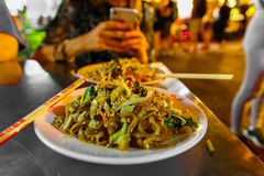 Traditional Pad Thai on Bangkok street stock image