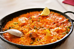 Traditional paella in province of Valencia,Spain Royalty Free Stock Image