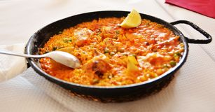 Traditional paella in province of Valencia,Spain Royalty Free Stock Photography