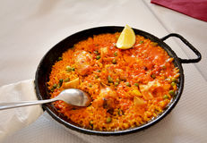 Traditional paella in province of Valencia,Spain Royalty Free Stock Images
