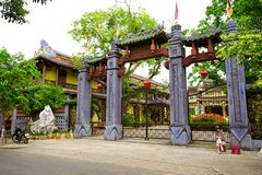 Traditional pagoda in the street of Hoi An old town Royalty Free Stock Photography