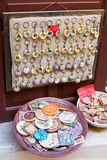 Traditional painted ceramic souvenirs for sale at a city centre shop Crete, Greece, Europe. Royalty Free Stock Image