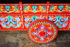 Traditional painted Costa Rican oxcart (carreta) Stock Images