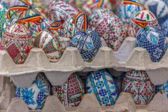 Traditional painted and decorated Easter eggs specific Romanian royalty free stock image