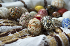 Traditional painted Easter egg from Bucovina, Romania. Royalty Free Stock Photo