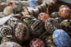 Traditional painted Easter egg from Bucovina, Romania. Decorated eggs is an old Easter tradition that was developed on Romanian soil with great craftsmanship Royalty Free Stock Photos