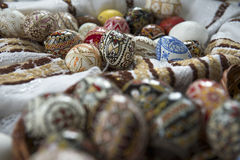 Traditional painted Easter egg from Bucovina, Romania. Decorated eggs is an old Easter tradition that was developed on Romanian soil with great craftsmanship Royalty Free Stock Image