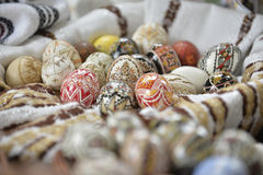 Traditional painted Easter egg from Bucovina, Romania. Decorated eggs is an old Easter tradition that was developed on Romanian soil with great craftsmanship Stock Images
