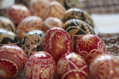 Traditional painted Easter egg from Bucovina, Romania. Decorated eggs is an old Easter tradition that was developed on Romanian soil with great craftsmanship Stock Photos