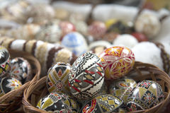 Traditional painted Easter egg from Bucovina, Romania. Decorated eggs is an old Easter tradition that was developed on Romanian soil with great craftsmanship Stock Photo