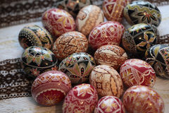 Traditional painted Easter egg from Bucovina, Romania. Decorated eggs is an old Easter tradition that was developed on Romanian soil with great craftsmanship Royalty Free Stock Photo