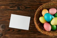 Traditional painted Easter eggs concept. Top view composition royalty free stock photography