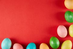 Traditional painted Easter eggs concept. Top view composition stock image