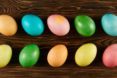 Traditional painted Easter eggs concept. Top view composition stock photography