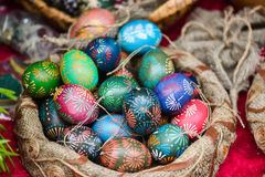 Traditional painted eastern eggs in handicraft mart Kaziukas, Vilnius, Lithuania Royalty Free Stock Photos