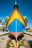 Traditional painted fisherman boat in Marsaxlokk village,Malta.  Royalty Free Stock Image