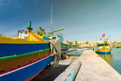 Traditional painted fisherman boat in Marsaxlokk village,Malta.  Stock Photography