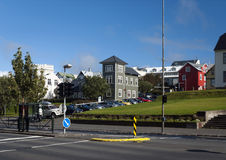 Traditional painted houses homes in central reykjavik iceland ci Stock Photo
