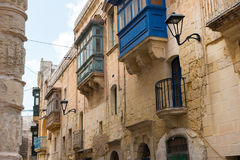 Traditional painted Maltese balconies, Malta. Traditional painted Maltese balconies in Mosta, Malta Royalty Free Stock Photography