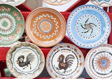 Traditional painted plates of Horezu area, Romania, exhibited at the Stock Image