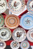 Traditional painted plates of Horezu area, Romania, exhibited at the Stock Photo