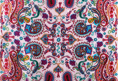 Traditional paisley pattern silk headscarf. Sample. Eastern cloth presents and gifts concept Royalty Free Stock Photos